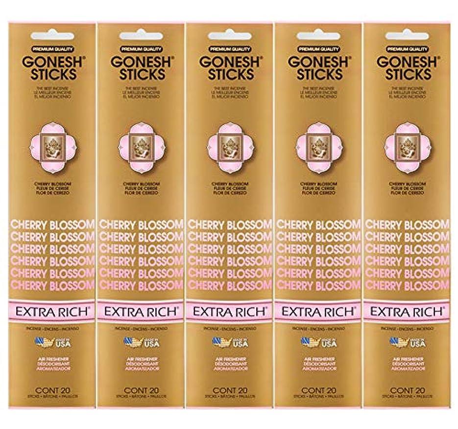 後悔句はさみGonesh Incense Sticks Extra Richコレクション – Cherry Blossom 5パック(合計100 )