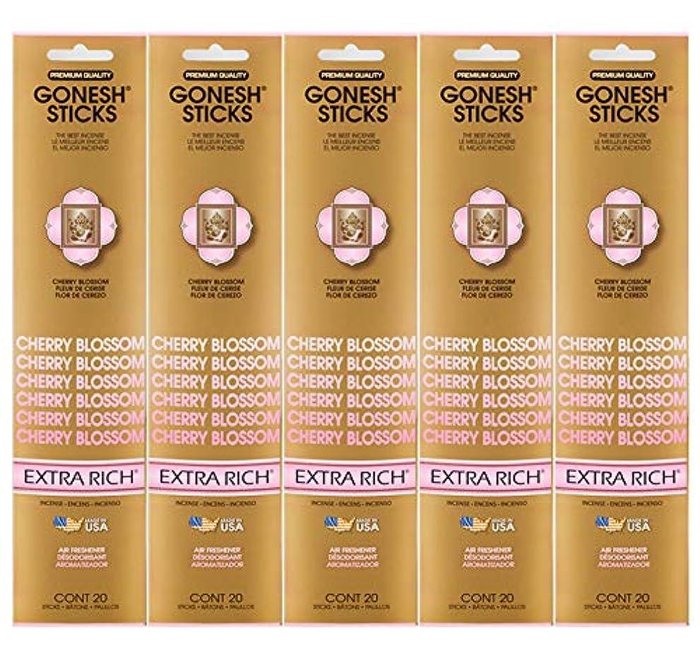 楽しませる確立聴覚障害者Gonesh Incense Sticks Extra Richコレクション – Cherry Blossom 5パック(合計100 )