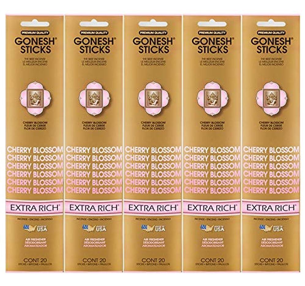 ピンポイントリラックスしたタバコGonesh Incense Sticks Extra Richコレクション – Cherry Blossom 5パック(合計100 )
