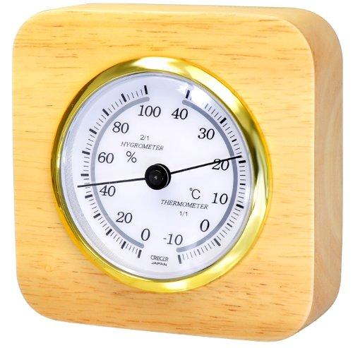 クレセル 天然木温湿度計 卓上用 CR-620