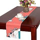 GGSXD テーブルランナー 面白い 赤い猫 クロス 食卓カバー 麻綿製 欧米 おしゃれ 16 Inch X 72 Inch (40cm X 182cm) キッチン ダイニング ホーム デコレーション モダン リビング 洗える
