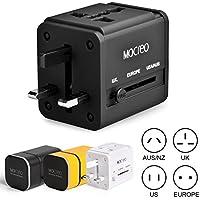 MOCREO 海外旅行用変換プラグ マルチコンセントアダプター A・BF・C・O・SEタイプセット USB充電ポート2個付 ブラック