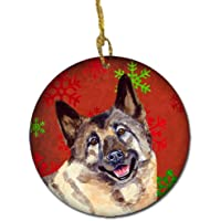 Carolines Treasures LH9353-CO1 Norwegian Elkhound Red Snowflake Holiday Christmas Ceramic Ornament