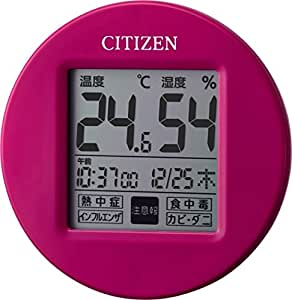 シチズン デジタル 温度 ・ 湿度 計 ライフナビプチA マグネット 付き ピンク CITIZEN 8RD208-A13