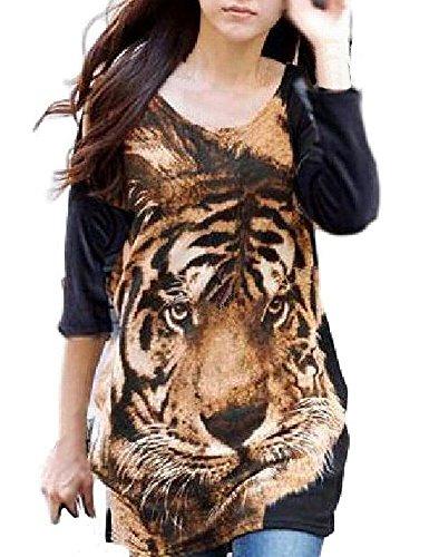 (トーアソーア) toasoa インパクト大 トラ 柄 フェイス プリント チュニック Tシャツ ロンT 長袖 おしゃれ かわいい 春 夏 秋 冬 個性的 大きいサイズ 韓国 トレーナー 裾くしゅ 虎 タイガー 豹柄 ヒョウ柄 レディース ファッション 茶色