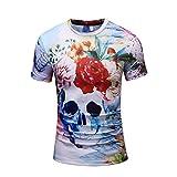 男性 Tシャツ、三番目の店 メンズ カジュアル 骷髅3Dプリント 半袖 シャツ トップス ブラウス