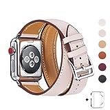 WFEAGL コンパチブル Apple Watch バンド,は本革レザーを使い、iWatch Series4/3/2/1、Sport、Edition向けのバンド交換ストラップです コンパチブル アップルウォッチ バンド (38mm, 二重巻き型 ピンクの砂)