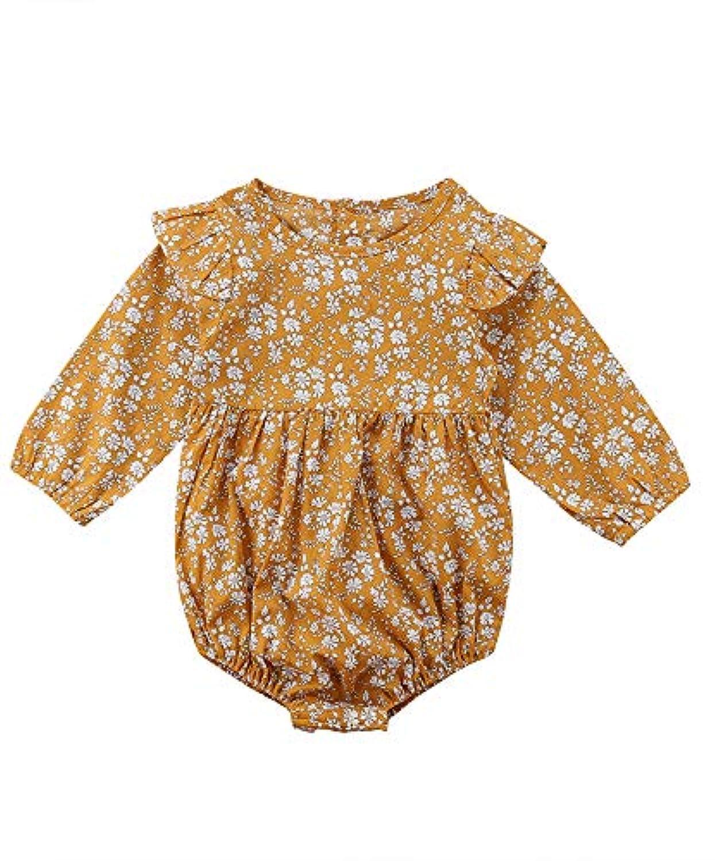 女の子 ベビー服 ロンパース カバーオール 長袖 肩フリル バックボタン お花 イエロー かわいい 0-12ヶ月 1-3歳 旅行 七五三 (2-3歳)