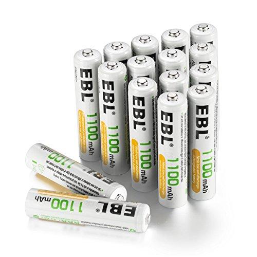 EBL 充電式ニッケル水素電池 単4形16個パック (高容量1100mAh 約1200回使用可能)