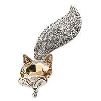 highplus ブローチ フォックス猫 宝石ブローチ クリスタル カラーダイヤモンド ブトンニエ(シャンパーニュ)