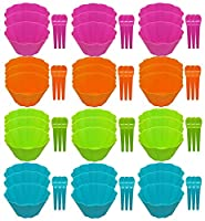 (36) - Set of 36 Ice Cream Bowl Sets Matching Spoons - 72pc Set - Adorable Flower Wave Design - 4 Bright and Beautiful Colours - Perfect for Parties, Kid's, Picnics, Family Events or Just Regular Use (36)