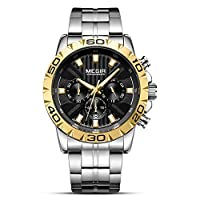 CXUNKK 男性のテーブルのファッションの雰囲気ビジネス鋼クォーツ時計を見Megir (Color : Gold, Size : 46mm)