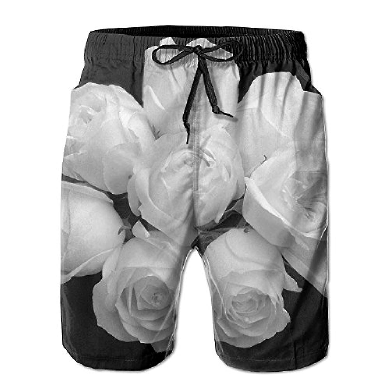 メンズ ビーチショーツ ショートパンツ 白黒花プリント 水着 スイムショーツ サーフトランクス インナーメッシュ付き 通気 速乾