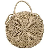 Round Straw Bag Rattan Crossbody Bag Handwoven Natural Summer Beach Shoulder Bag for Women