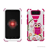 Beyond Cell High Impact Rugged Tri Shield? Protective 3 Layer Hybrid Case Cover with Built in Kickstand and Clear Screen Protector film for Motorola Ultra/Ultra Maxx XT1080/M Animal Series - Daisy Owl - White/Hot Pink - Retail Packaging by Beyond Cell [並行輸入品]