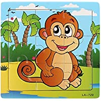 gqmart学習パズル、Lovely Monkey Wooden Jigsaw Toys For Kids教育5.8 & Quot ; x5.8 & Quot ;