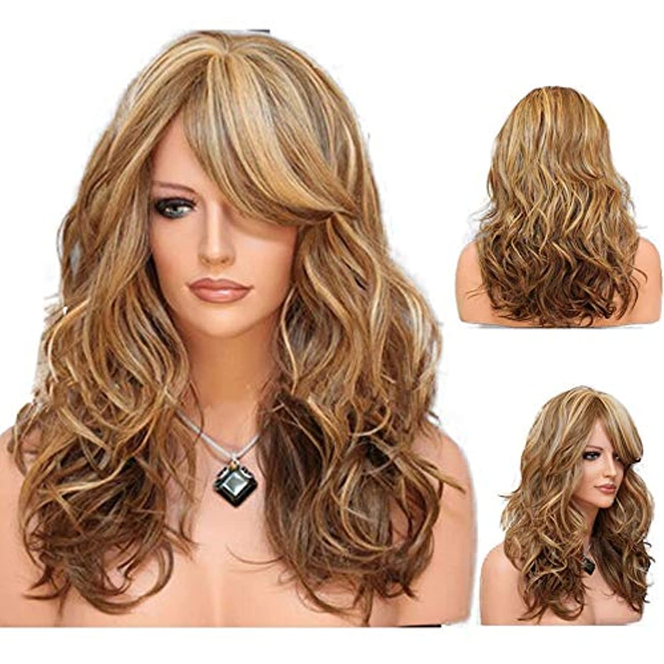 レビュー体操選手友情女性の長い巻き毛の波状髪のかつら24インチ魅力的な熱にやさしい人工毛交換かつらハロウィンコスプレ衣装アニメパーティーかつら(かつらキャップ付き) (Color : Brown)
