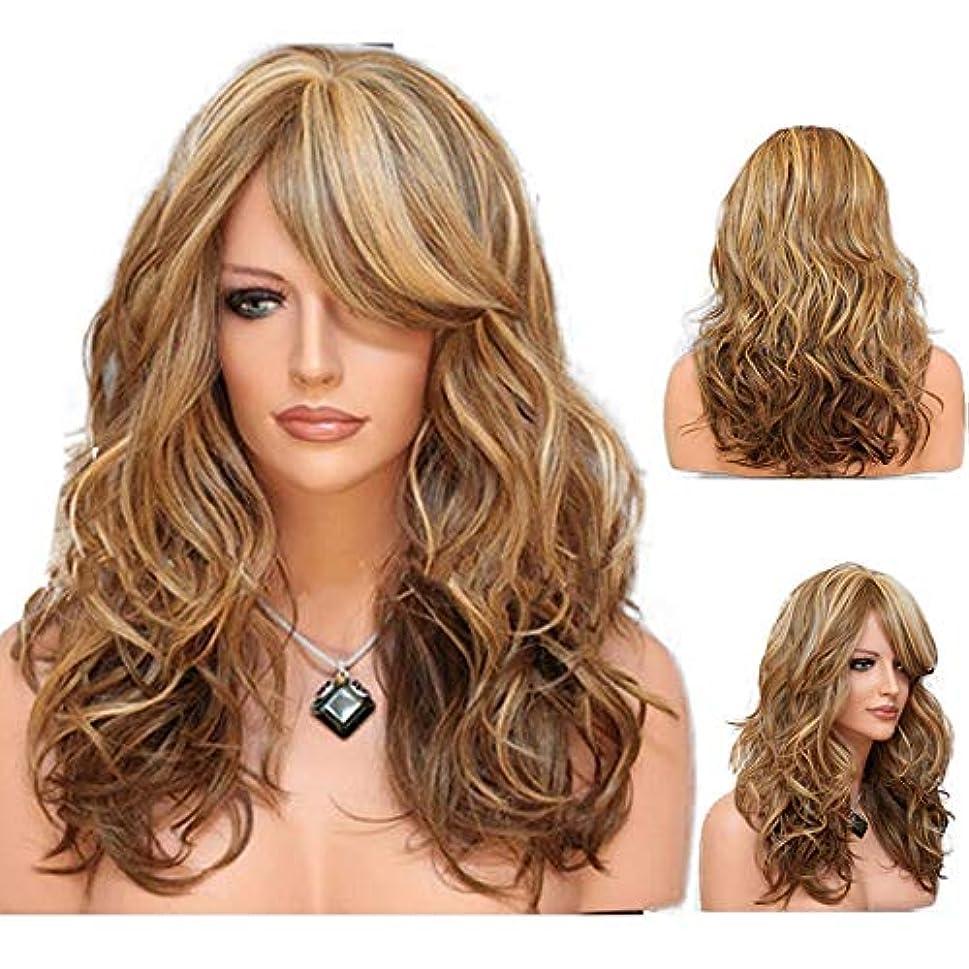 照らす違法乗り出す女性の長い巻き毛の波状髪のかつら24インチ魅力的な熱にやさしい人工毛交換かつらハロウィンコスプレ衣装アニメパーティーかつら(かつらキャップ付き) (Color : Brown)