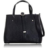 Women's Genuine Leather Cross-body Handle Shoulder Handbag Tote Bag with Classic Snake Pattern Design