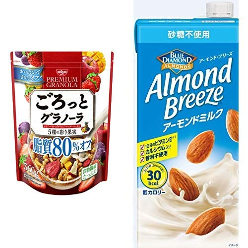 【セット買い】ごろっとグラノーラ5種の彩り果実脂質80%オフ360g 360gX6袋 + アーモンド・ブリーズ 砂糖不使用 1L×6本