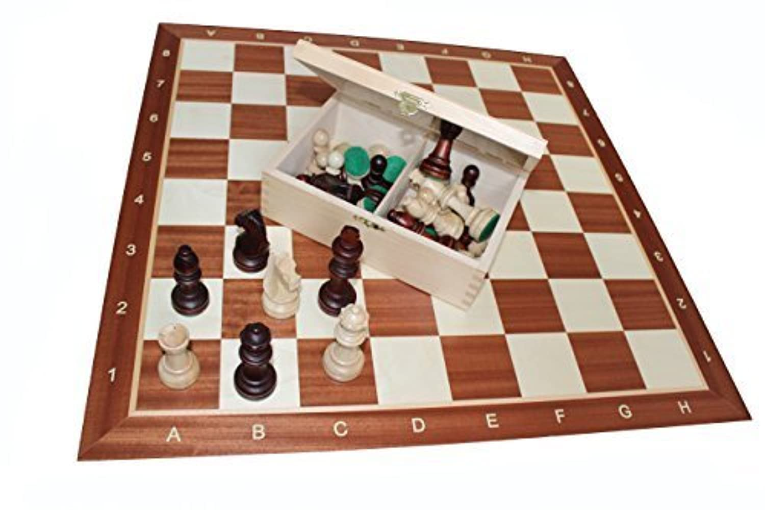 STAUNTON NO 5 TOURNAMENT PROFESSIONAL CHESS SET 48x48 cm INLAID BOARD by Woodeyland [並行輸入品]