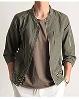 (バレッタ) Valletta 綿麻 7分袖 MA-1 ジャケット リネン コットン 七分袖 ブルゾン 無地 ミリタリー ストリート カジュアル メンズ