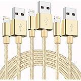 Aonsen iPhone 充電ケーブル 【3本セット 1M】USB充電ケーブル 高耐久 データ転送ケーブル アイフォン ケーブル iPhone XS/XS Max/XR/X/8 Plus/8/7/7Plus/iPad/iPod 対応 (金)
