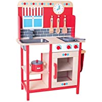 Bigjigs Toys Wooden Play Kitchen with Sink Cooker and Additional Accessories [並行輸入品]