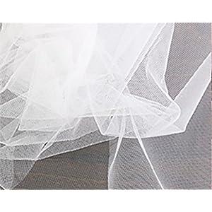 コスモテキスタイル 生地 チュール 15D 無地 ナイロン100% 約183cm幅×1mカット col.1 ホワイト 1820 手芸・ハンドメイド用品