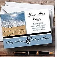 ラブハートSand Beach Sea Personalized結婚を保存日付カード 80 Invitations