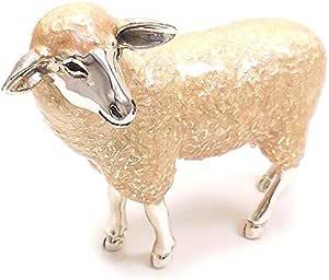 [サツルノ] SATURNO 置き物 オブジェ 羊 ヒツジ 大 シルバー925 エナメル彩色 ST311-L