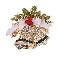 Brooch 1Xクリスマスブローチダイヤモンドブートニアピンラインストーンチャームジュエリーファッションバッジスーツスカーフ合金ショールアクセサリークリップのギフト女性レディース