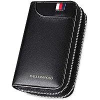 WILLIAMPOLO Men Key Case Genuine Leather Bag Zipper Wallet Car Keys Organizer 6 Key Hooks with Card Slots
