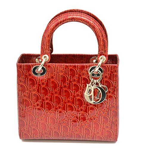 クリスチャン ディオール Christian Dior レディディオール トロッター ハンドバッグ エナメル パテント レザー レッド シルバー金具 中古