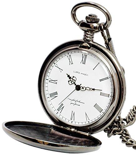 【リトルマジック】BW シンプル 懐中時計 メンズ レディース チェーン 蓋付き ローマ数字 ナースウォッチ 時計 (ブラック白文字盤)