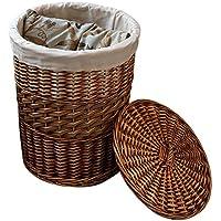 ランドリーバスケット、手作り籐cattailランドリーバスケット収納コンテナ装飾蓋バスケットウィッカーバスケット,Klein