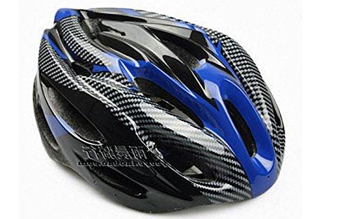 【ノーブランド品】クールスタイル! 超軽量 高剛性! 自転車用 サイクリング ヘルメット (カーボン/ブルー&ブラック)