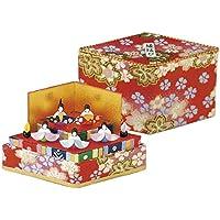 """リュウコドウの手作りひな人形【収納小箱雛】 """" ひし型 ミニ収納雛二段 """" 21-85 ※和紙の色・柄アソートになります"""