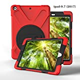 E&FASHION iPad 9.7 2017 ショルダーケースハードPCバックカバーとソフトTPU素材 、耐衝撃性、全面保護 耐衝撃 衝撃吸収 防塵 モデル ハイブリッド ケース 全12色 (レッド)