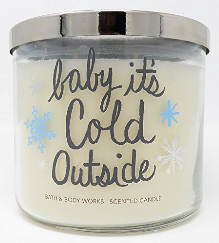 説教する胃フェンスBath and Body Works新しいfor 2017 Fireside 3 Wick Candleラベル – 「Baby」Its ' Cold Outside