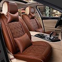 KBZW カーシートカバー防水フルセット、5席ユニバーサルレザーカーシートクッション付きヘッドレストとランバーピローフロントとバックシート保護カバー (Color : Brown)