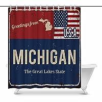 interestprintアラバマの美しい状態Rustyメタルサインwith USA Flagホーム装飾防水ポリエステル浴室シャワーカーテンバスデコレーションフック、60(ワイド) X 72(高さ) CM 72x84 inch YIBN-S0206-M84in