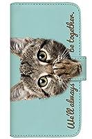 with NYAGO 手帳型 ケース レザー 厚手タイプ au AQUOS R compact (SHV41) ソラちゃん 肉球をペロペロするにゃー。 かわいい猫フェイス手帳 7011 ミントグリーン