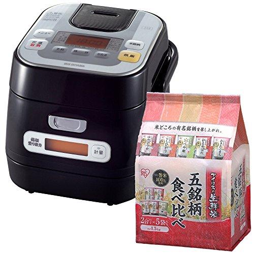 アイリスオーヤマ 銘柄量り炊きIHジャー炊飯器 3合 RC-IA30-B + 生鮮米 5品種食べ比べ...