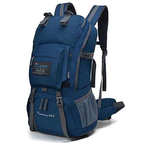 マウンテントップ(Mountaintop) アウトドア バックパック 登山リュック 40L 大容量 リュックサック 登山用バッグ ハイキングバッグ 防水 レインカバー付き (ディープブルー40L)