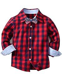子供用 ボーイズ ガールズ 男の子 女の子 長袖 紳士服 Yumiki 蝶々 チェックシャツカジュアル シャツ キッズシャツ チェックシャツ ワイシャツ人気 パーカー tシャツ(12M-5T)(80-130cm)