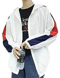 Sodossny-JP メンズ夏のルーズフィットの軽量フード太陽保護皮膚色のステッチジャケット