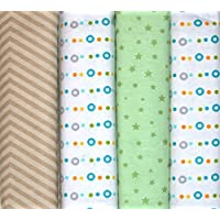 100% cotton baby receiving blankets (green stars polka dots and brown stripes) [並行輸入品]