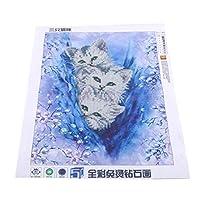 WEIHEE 5d刺繍絵画ラインストーンかわいい猫クロスステッチdiyウォールステッカー絵画用リビングルームの装飾絵画