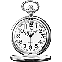 KS Vintage Polished Pendant Silver Steel Case Chain Quartz Awesome Pocket Watch KSP002